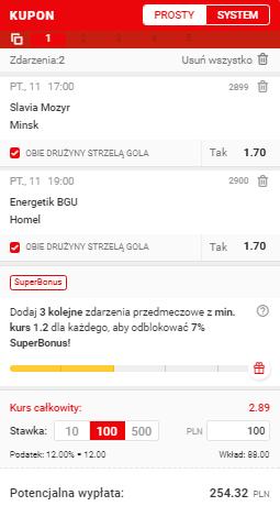 Białoruś Superbet na 11.06.