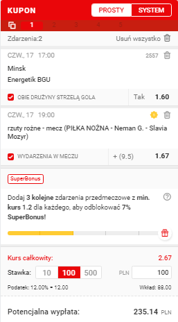 Białoruś Superbet na 17.06.