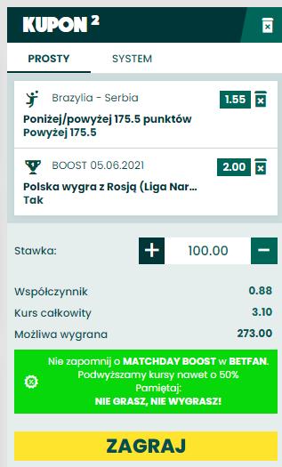 siatkówka liga narodów dubel betfan 5.06