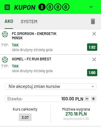 Totalbet Białoruś na 17.07.
