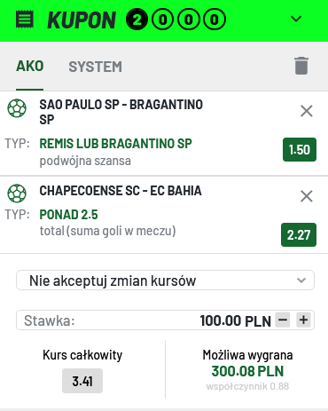 Kupon Serie A (Brazylia) 04.07 - totalbet