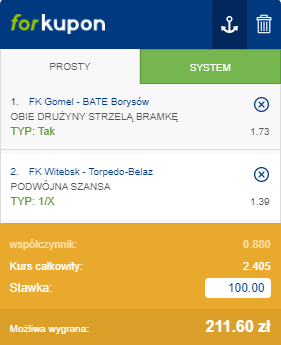 Białoruś Forbet na 02.08.