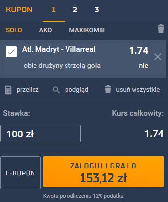 atletico madryt villarreal kupon 29.08.2021