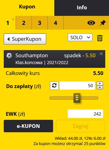 kupon Premier League 02.08. fortuna