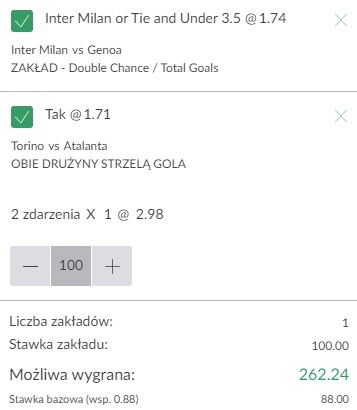 kupon double serie a, 21.08.2021