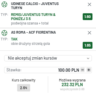 kupon double serie a, 22.08.2021