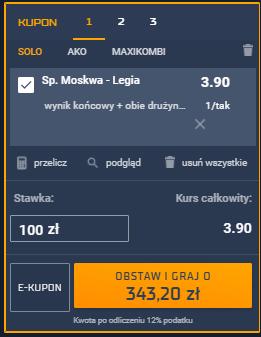 Spartak Moskwa - Legia Warszawa typy bukmacherskie