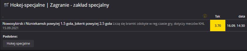 KHL zakład specjalny Fortuna 16.09.