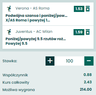 kupon double serie a, 19.09.2021