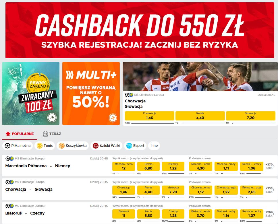 betclic cashback 550 zł