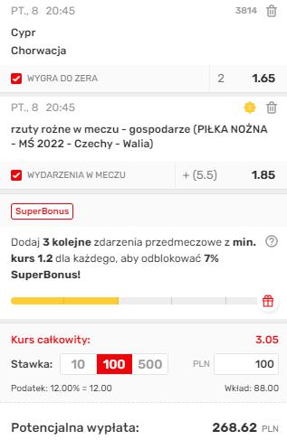 kupon double na eliminacje MŚ europa, 08.10.2021