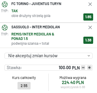 kupon double serie a, 02.10.2021